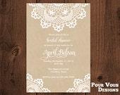 Printable Rustic Doily Lace Bridal Shower Hens Graduation Party Invitation