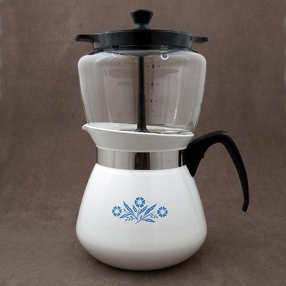 Old Drip Coffee Maker : Vintage Corningware Drip Coffee Maker-Cornflower Blue-2