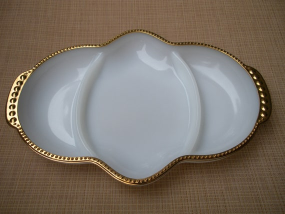 Vintage Fire King Anchor Hocking White Milk Glass Divided Dish