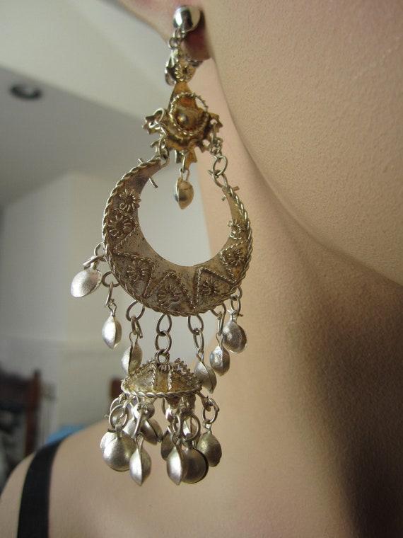 Vintage mini bell chandelier clip on earrings