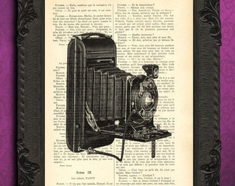 Antique kodak camera art dictionary print, folding camera old cameras poster on book page, photography gifts