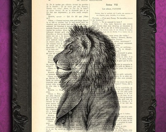 lion print antique illustration altered tuxedo dressed lion with clothes on upcycled book page cat portrait poster