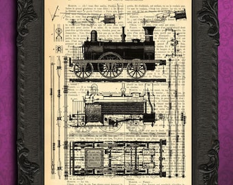 Train mixed media - TRAIN art print - vintage home decor dictionary print - book page print - recycled upcycled