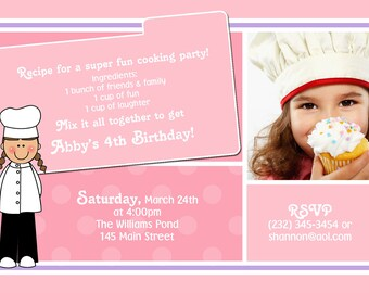 Chef Cooking Kids Photo Birthday Party Invitations | Custom Design | Professionally Printed Card Stock Boy Girl Twin Sibling Stationery Best