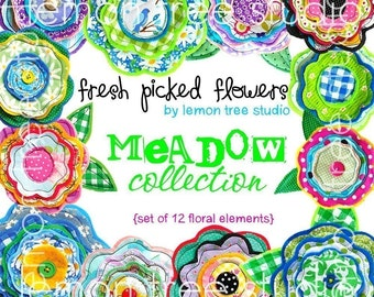 Digital Clip Art -- Fresh Picked Flowers -- Meadow Collection (Instant Download)