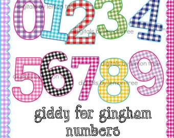 Digital Clip Art -- Giddy for Gingham Numbers (Instant Download)