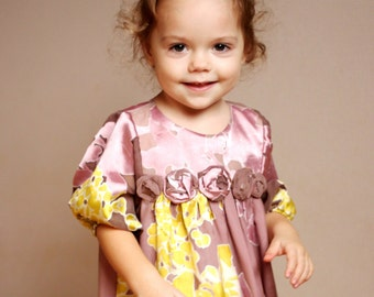 Girls pink dress yellow autumn christmas new year special occasion birthday flowers girls hmet