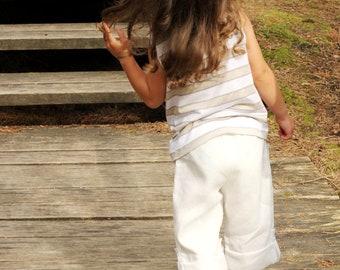 Girls summer trousers T5 capri white linen pants transofrmers