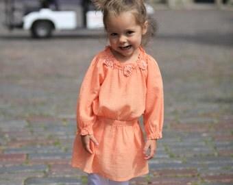 Summer girls blouse B23 peach orange flower cotton top beach blouse special occasion birthday