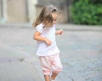 Girls summer capri T11 light pink linen ruffles beach birthday baby toddler comfy