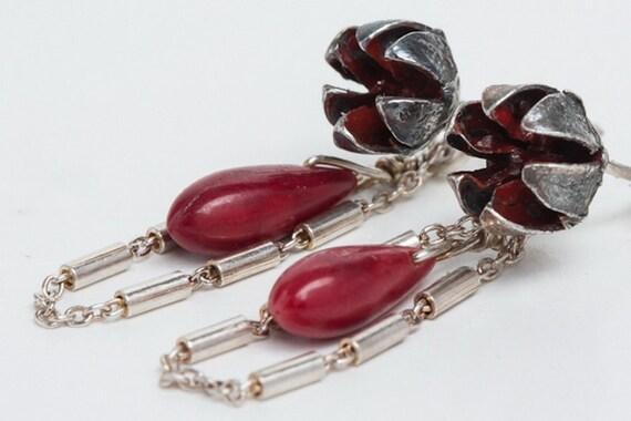 Organic Earrings, Red Coral Flower Earrings, Drop Shaped Bead, Sterling Silver, Handmade Designer Jewelry, Modern Jewelry, Custom Jewelry