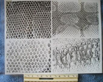 fish scales / snake skin unmounted background stamp large  scrapbooking rubber stamping