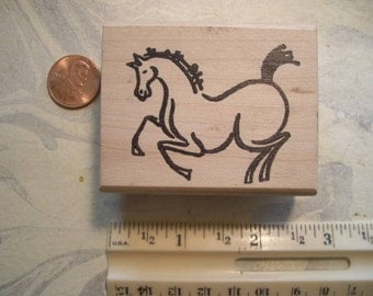 brush stroke horse rubber stamp  left WOOD mounted scrapbooking rubber stamping