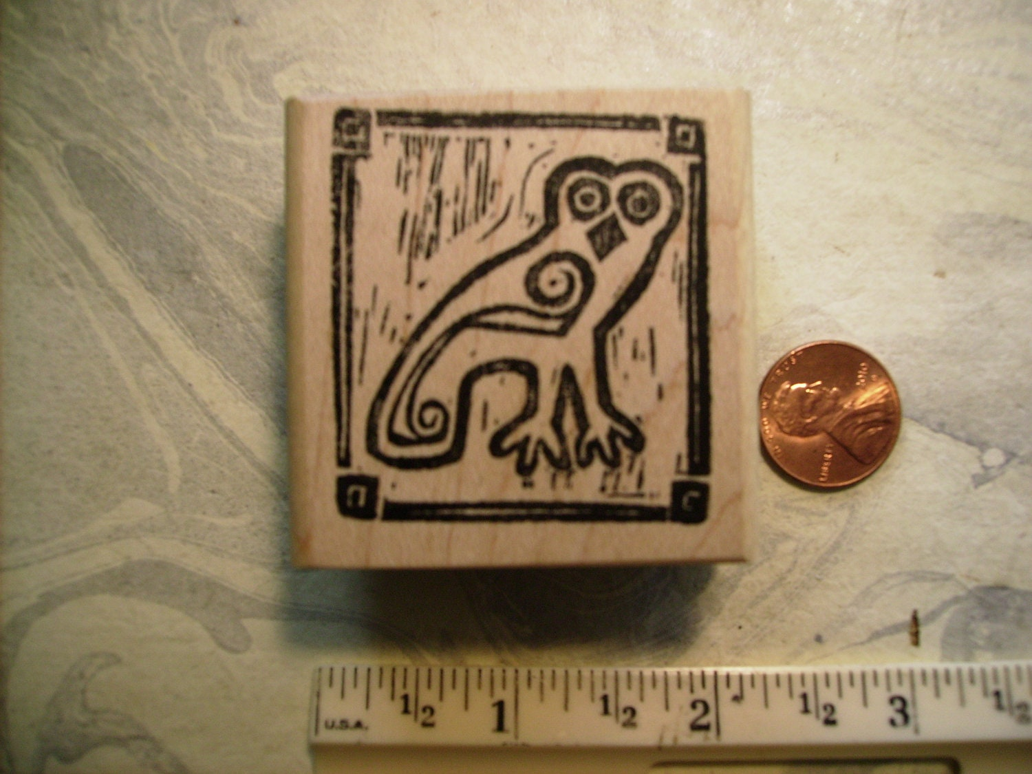 Owl eraser greek carving style rubber stamp wood mounted
