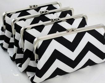 Black and White Chevron Zig Zag Stripes Bridesmaids Clutches / Wedding Purses / Wedding Gift - Set of 4