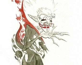 Dracula, Original Watercolor Painting