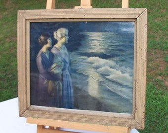 Framed Art Early Century Three Generations Women by the Sea Superb Example Free Shipping