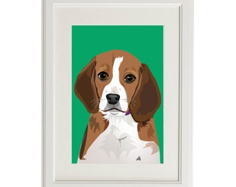 Beagle dog pet custom illustration print 8x10