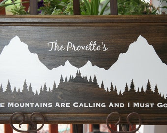 Mountain wedding gift - Personalized Plaque Sign for the Bride and Groom - The Mountains Are Calling and I Must Go. size 22x11
