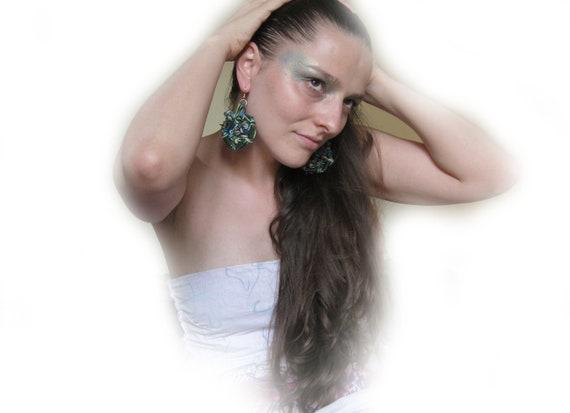 "Earrings ""Mermaid's"".OOAK. Eccentric huge jewelry, green and blue colors, handbeaded, ceramic beads"