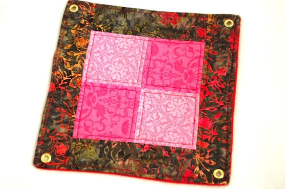 """Quilted and pieced small animal hammock 10.5"""" x 10.5"""""""