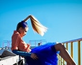 Blue  tutu tulle skirt, cobalt petitcoat, adult tulle skirt