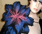Wool felted Brooch Pin tropical flower Blue Pink Black xxl ooak handmade lagenlook art LIA