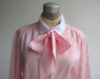 Vintage Secretary Blouse with Ascot / Pink with White Polka Dots / Large