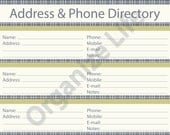 Address & Phone Directory - Printable PDF - Instant Download