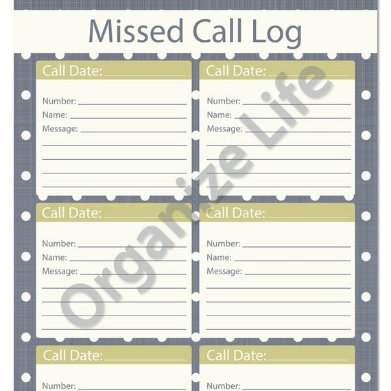 Missed Call Log Template - Bing Images