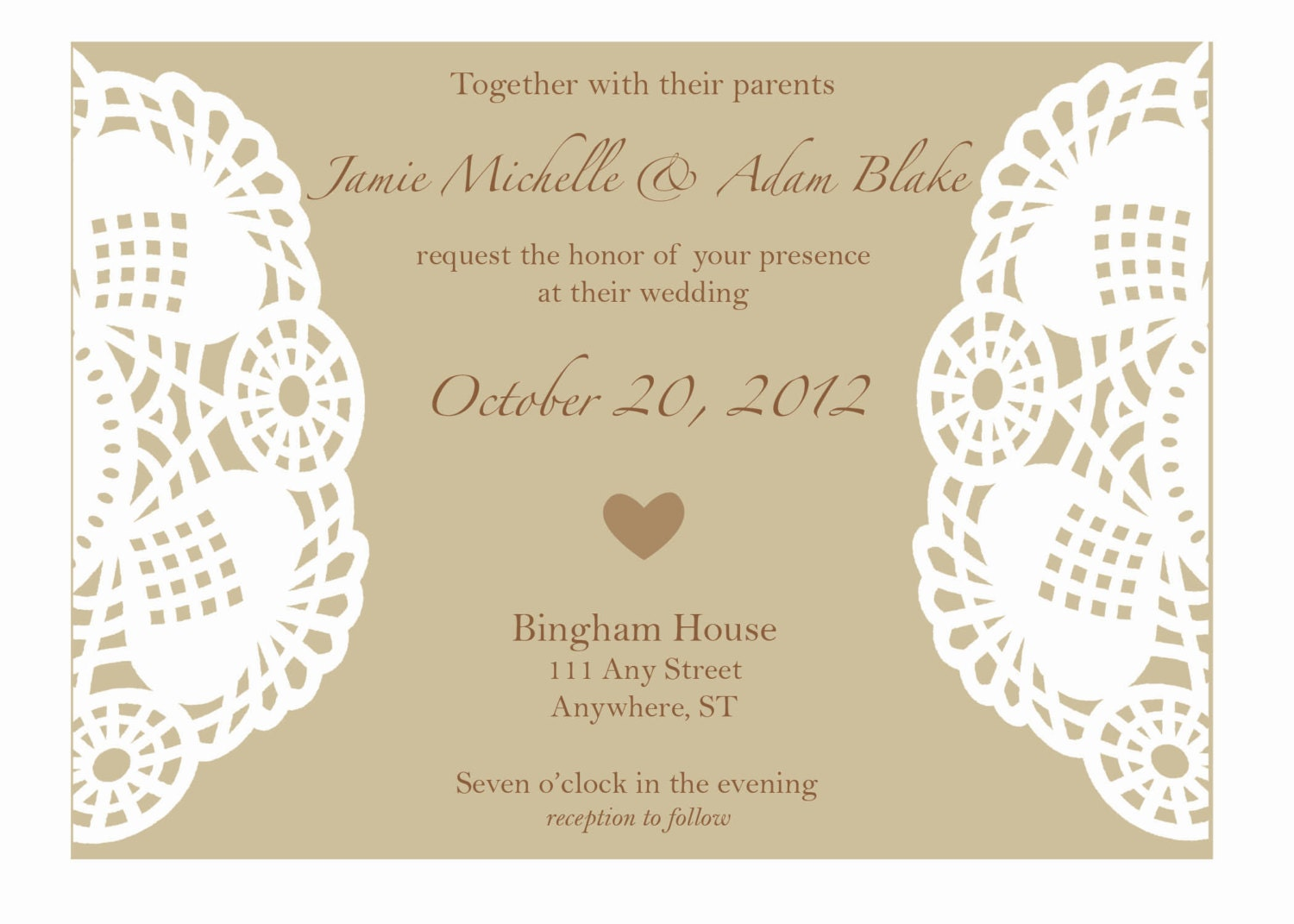 Rustic Wedding Invitation With Lace Doily Or By AestheticJourneys