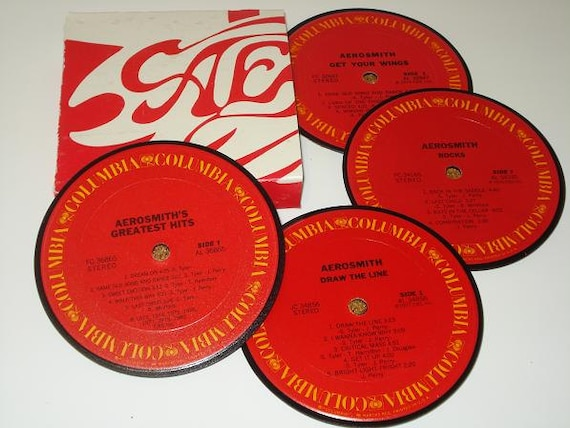 Aerosmith vinyl record coaster set record album coasters