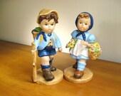 Vintage Ceramic Boy Girl Figurines, Mid Century, Large size, Statues, Hummel Style