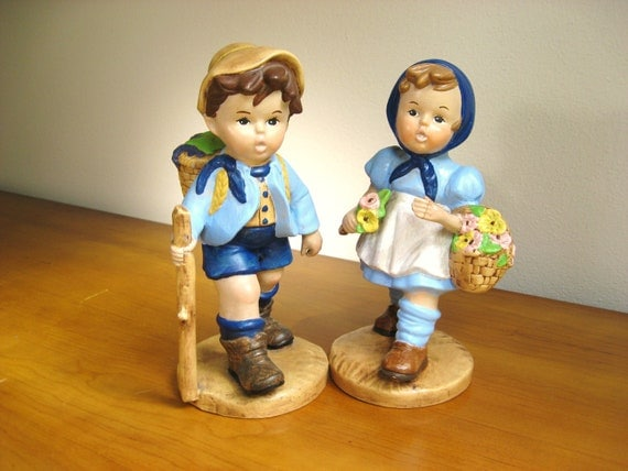 Vintage Ceramic Boy Girl Figurines, Mid Century, Large size, Statues, Hummel Style
