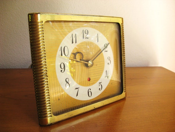 Vintage Seth Thomas Electric Clock, Gold Plated, 1950's, Mid Century, Mad Men Style