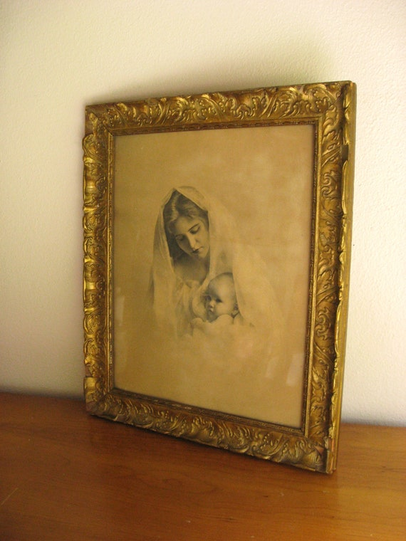 1899 Antique Madonna and Child Framed Print Picture by Knaffl Brothers
