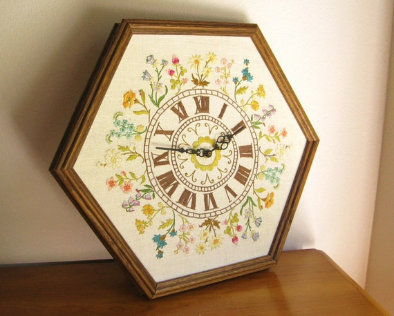 Vintage Floral Embroidered Clock, Large Embroidery Clock, Oak Frame, Floral Clock