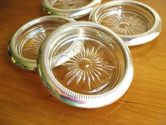 Vintage 1960's Coasters, Made by International Silver Company, Silver plated, Starburst Design