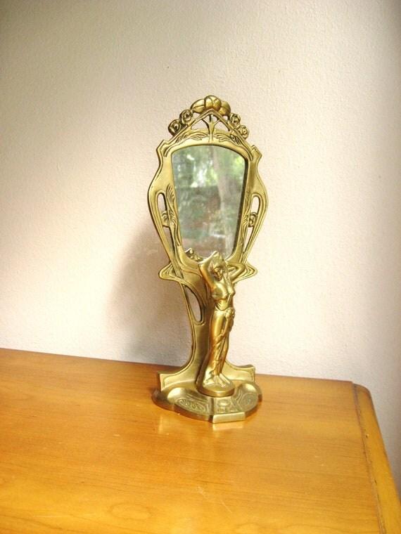 Antique Brass Art Deco Tabletop Mirror, Brass Woman Mirror, Vanity Mirror
