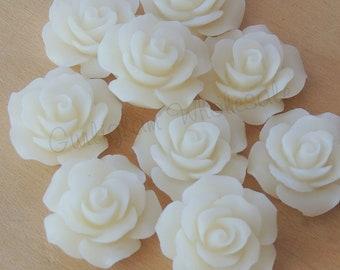 Ivory Resin Rose 18mm, DIY, Resin Rosettes, Wholesale cabochons
