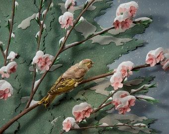 Blank Card - 'Spring Snow' - Songbird Paper Sculpture, Print