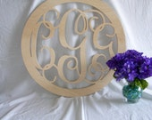 18 inch Vine connected monogram letter- round with BORDER- monogram letter, wood letter, unpainted, gift, home decor