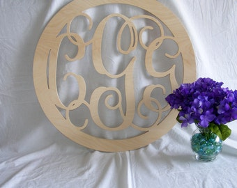 24 inch Vine connected monogram letter- round with BORDER, wedding decor, wooden wall letter, wood letter, letter monogram, gift