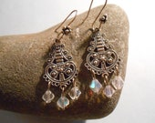Victorian/Aztec Crossover Inspired Earrings with Clear Glass Beads -  CUSTOMER APPRECIATION SALE - two dollars off - By Germaine G. Egrie