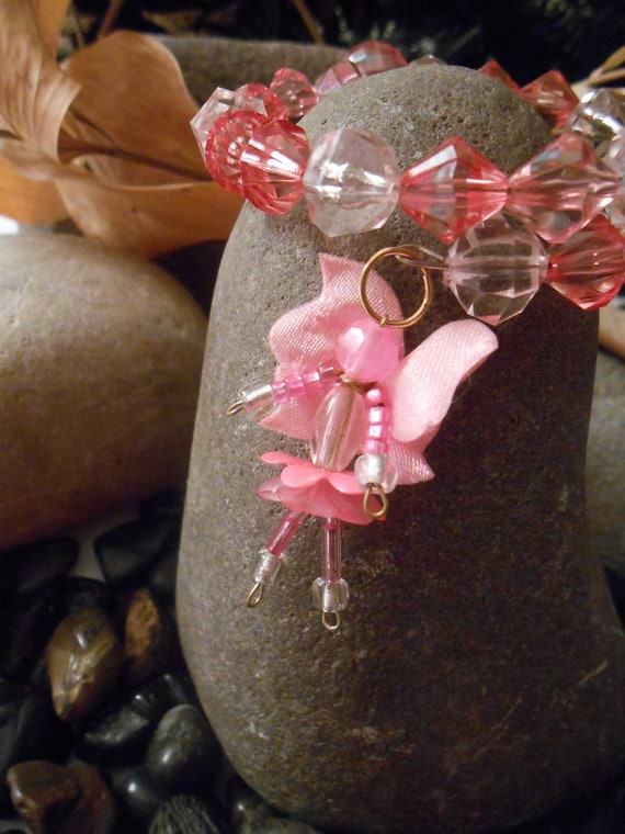 Angel for the Cure - Pink Angel Beaded Memory Wire Bracelet -  By Germaine G. Egrie