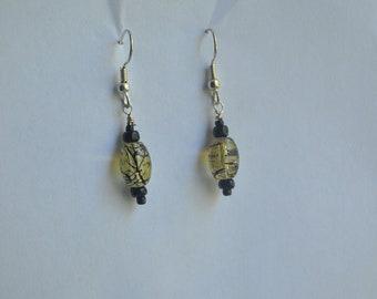 Black and Yellow Beaded Dangle Earrings