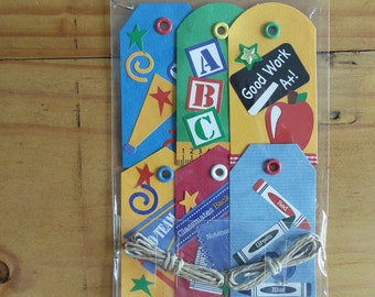 Fun and colorful dimensional school tags.
