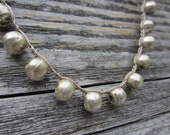 Rustic Silver Beaded Necklace - Crochet Artisan Jewelry, Handcrafted silver African beads - Rustic & Elegant