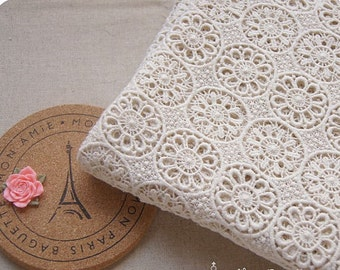 cream Cotton Lace Fabric, vintage style lace fabric, crochet lace fabric with round circles, retro lace, antique lace fabric