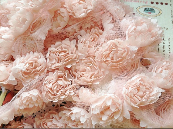 3d Lace Trim Chiffon Fabric Flowers Pink Daisy Appliques Diy